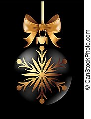 Black Christmas decoration ball with golden ribbon bow on black background.