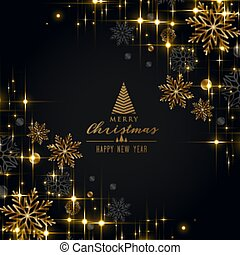 black christmas festival greeting with golden snowflakes