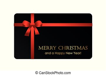 black christmas gift card with red bow
