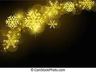 Black Christmas Greeting with Golden Snowflakes