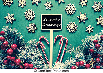 Black Christmas Sign, Lights, Seasons Greetings, Retro Look