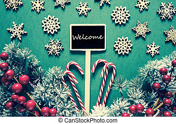 Black Christmas Sign, Lights, Text Welcome, Retro Look
