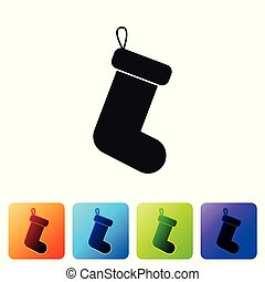 Black Christmas sock icon isolated on white background. Set icon in color square buttons. Vector Illustration
