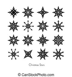 Black Christmas Star Set on White Background