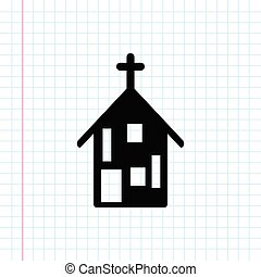 Black church building icon .