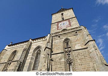 Black Church (Romanian - Biserica Neagra) at Honterus Courtyard in Brasov, Romania