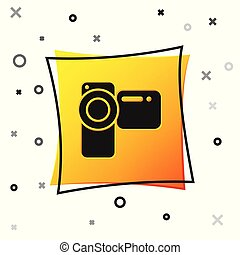 Black Cinema camera icon isolated on white background. Video camera. Movie sign. Film projector. Yellow square button. Vector Illustration