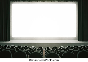 Black cinema with blank screen