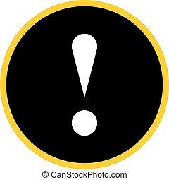 Black circle exclamation mark icon warning sign