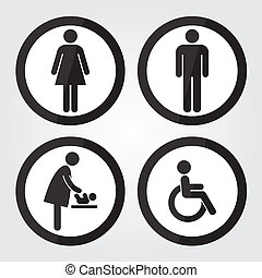 Black Circle Toilet Sign with Black Circle Border, Man Sign, Women Sign, Baby Changing Sign, Handicap Sign