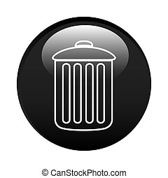 black circular frame with trash container icon