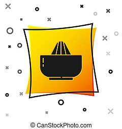 Black Citrus fruit juicer icon isolated on white background. Yellow square button. Vector