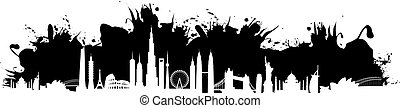 black cityscape splash