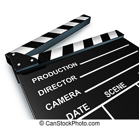 Black clap board movies symbol represented by an isolated...