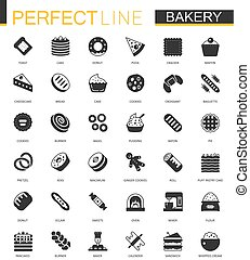 Black classic bakery pastry icons set.