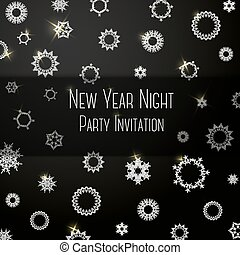 Black classic colored invitation on New Year Party, with snowflakes and place for your text. Vector