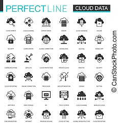 Black classic Data cloud technology web icons set. Global connection icon.