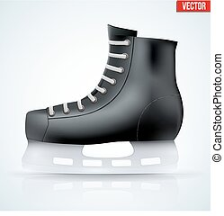 Black classic hockey ice skates