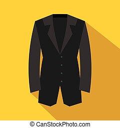 Black classic jacket icon, flat style