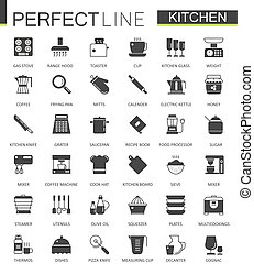 Black classic Kitchen web icons set.