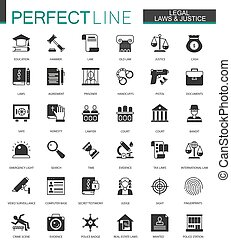 Black classic Legal, law and justice icons set isolated.