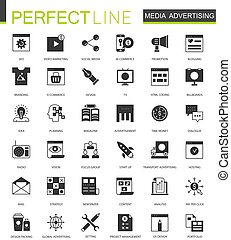 Black classic Media Advertising icons set for web