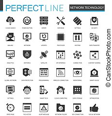 Black classic Network technology icons set for web.
