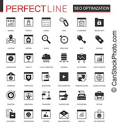 Black classic SEO and development icons set for web.