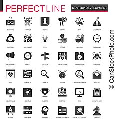 Black classic Startup business and development icons set for web