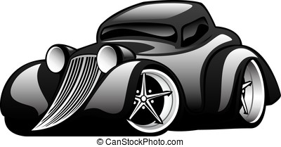 Black Classic Street Rod Car - Hot American vintage hot rod...