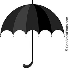 black classic umbrella icon flat simple vector illustration.