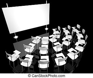 black classroom 2 - black classroom with white chairs
