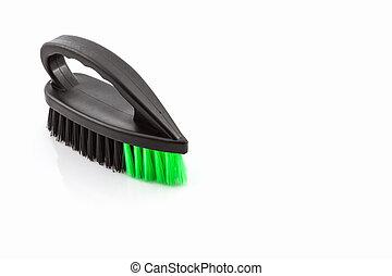 Black cleaning plastic brush on white background.
