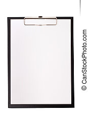 Black clip board with blank paper