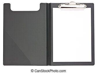 Black clipboard and paper