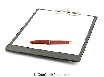 Black clipboard and pen