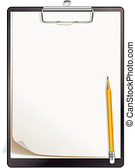Black clipboard with blank sheets of paper. Top view. Vector...