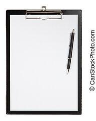 Black clipboard on a table