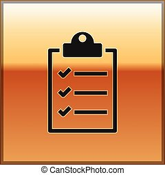 Black Clipboard with checklist icon isolated on gold background. Vector Illustration