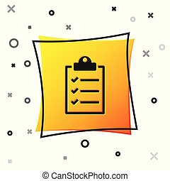 Black Clipboard with checklist icon isolated on white background. Yellow square button. Vector Illustration