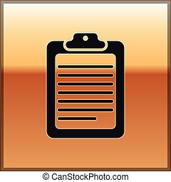 Black Clipboard with document icon isolated on gold background. Vector Illustration