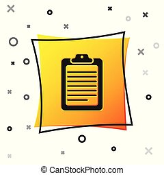 Black Clipboard with document icon isolated on white background. Yellow square button. Vector Illustration