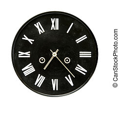 black clock dial isolated on white