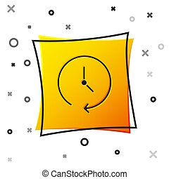 Black Clock icon isolated on white background. Time symbol. Yellow square button. Vector