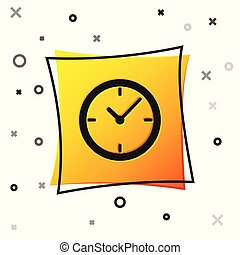 Black Clock icon isolated on white background. Yellow square button. Vector Illustration