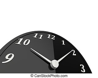 Black clock with white dials and numbers