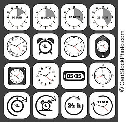 Black clocks icon set. Set of timers. 5, 10, 15, 30 minutes.