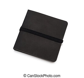Black closed notebook isolated over the white background