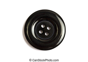Black clothing button isolated on white