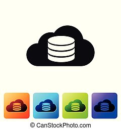 Black Cloud database icon isolated on white background. Cloud computing concept. Digital service or app with data transferring. Set icon in color square buttons. Vector Illustration